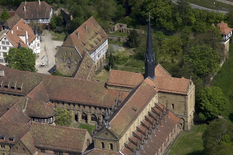 Aerial view of Maulbronn Monastery with eastern courtyard. Image: Staatliche Schlösser und Gärten Baden-Württemberg, Achim Mende