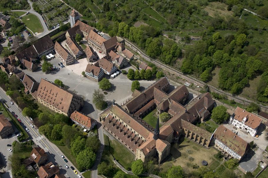 Aerial image of Maulbronn Monastery complex. Image: Staatliche Schlösser und Gärten Baden-Württemberg, Arnim Weischer