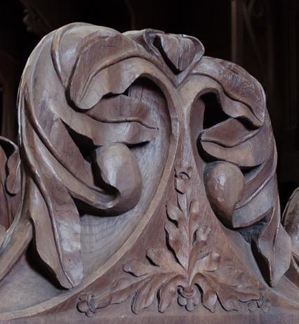 Detail des Chorgestühls im Mönchschor der Kirche des Klosters Maulbronn; Foto: Staatliche Schlösser und Gärten Baden-Württemberg, Julia Haseloff