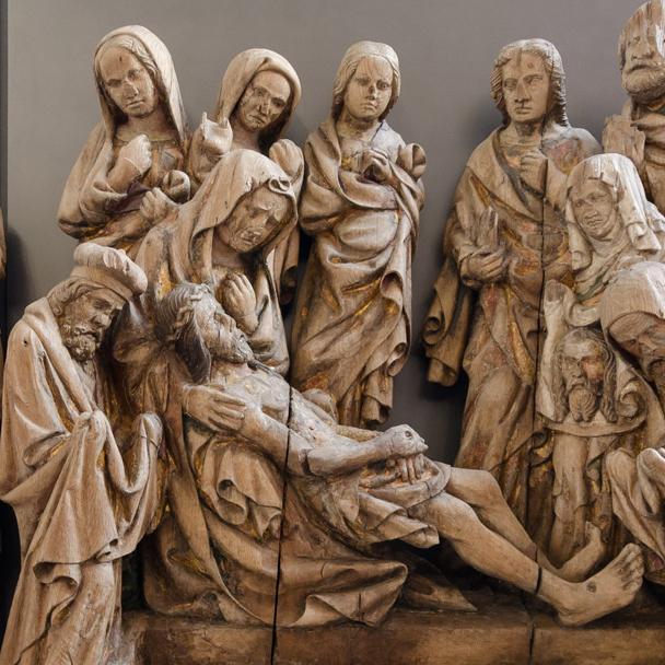 Beweinung Christi, Figurenschnitzerei am Hochaltar der Maulbronner Klosterkirche; Foto: Staatliche Schlösser und Gärten Baden-Württemberg, Julia Haseloff