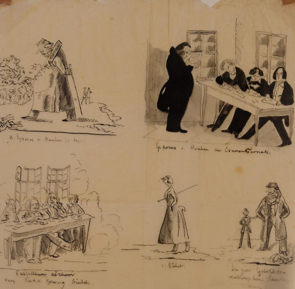 Schüler und Lehrer, Karikatur, 19. Jahrhundert, heute im Infozentrum des Klosters Maulbronn; Foto: Staatliche Schlösser und Gärten Baden-Württemberg, Julia Haseloff