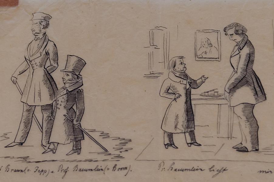 """""""Pr. Baeumlein liest mir den Leviten"""", Karikatur, 1830-1850; Foto: Staatliche Schlösser und Gärten Baden-Württemberg, Julia Haseloff"""
