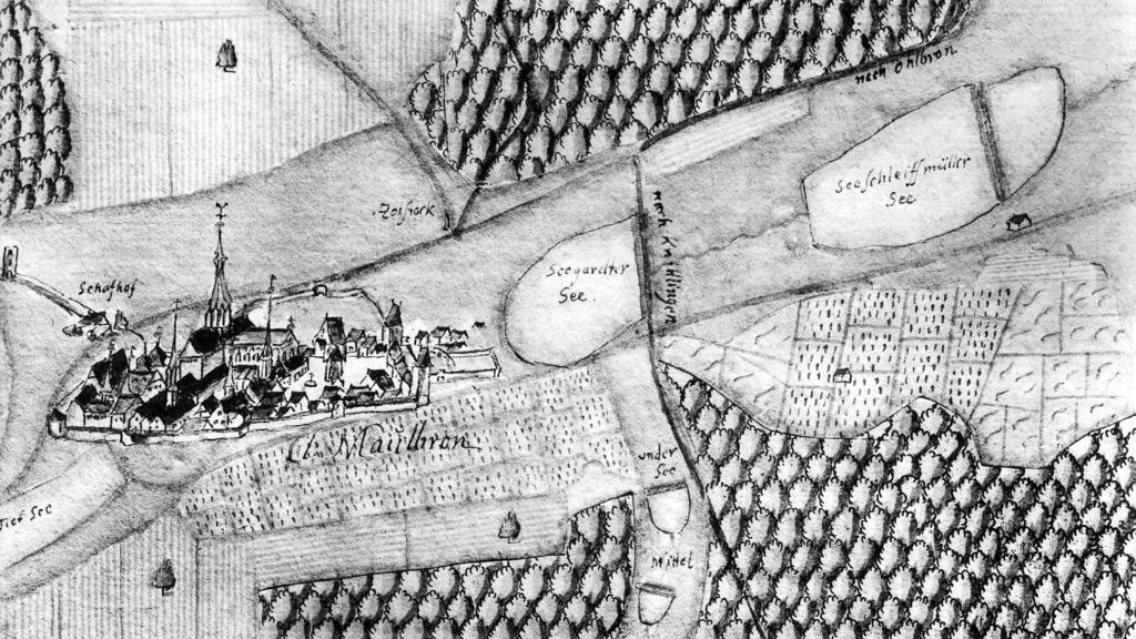 Maulbronn Monastery – Kiesersche Forstkarte Nr. 96 (detail) from Stromberger Forst, 1684. Image: Landesmedienzentrum Baden-Württemberg, Robert Bothner