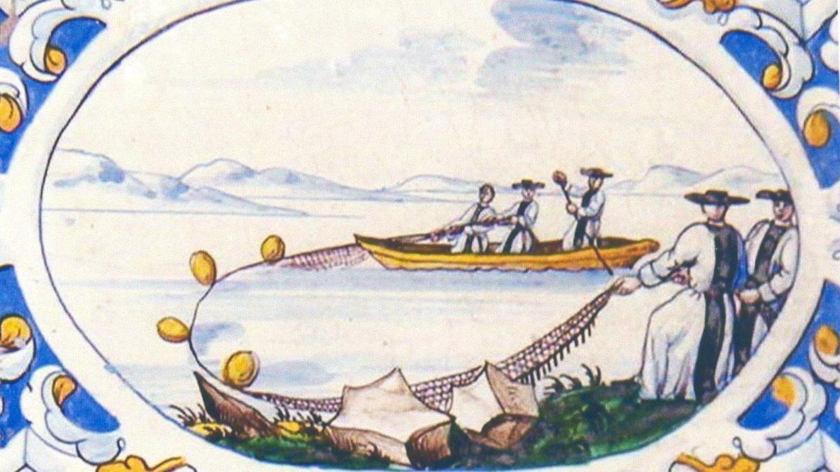 Mönche beim Fischen, Motiv auf dem Kachelofen im Sommerrefektorium von Kloster Salem; Foto: Staatliche Schlösser und Gärten Baden-Württemberg, Urheber unbekannt