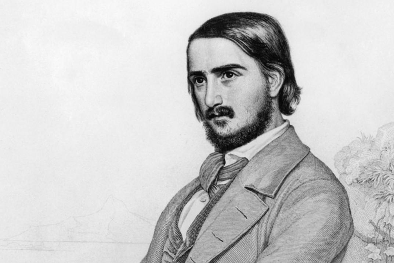 Porträt  von Georg Herwegh, Lithografie um 1855