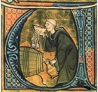 A cellarer tasting his wine. Illumination in a manuscript from the late 13th century. Image: Wikipedia, public