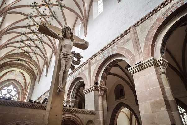 Maulbronn Monastery, interior view of the monastery church with the cross