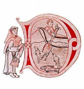 Miniatur von fischenden Mönchen, um 1200; Illustration: Stift Heiligenkreuz im Wienerwald
