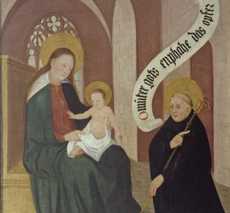Bernhard von Clairvaux kneels before the enthroned Mother Mary with child and offers the church, left inside wing of founders panel, oil on wood, 1450. Image: Staatliche Schlösser und Gärten Baden-Württemberg, Arnim Weischer