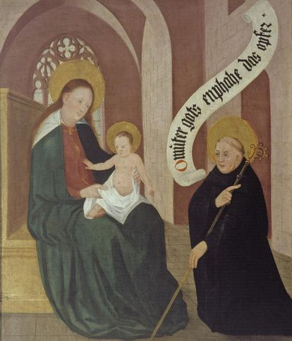 Bernhard von Clairvaux kneels before the enthroned Mother Mary with child and offers the church, left inside wing of founders panel, oil on wood, 1450. Image: Landesmedienzentrum Baden-Württemberg, Arnim Weischer
