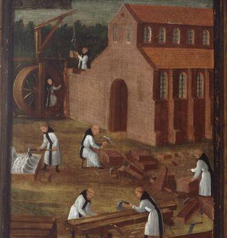 Zisterzienser (in weißer Mönchskutte) beim Bau der Kirche, linker Außenteil des Flügels der Stiftungstafel, Öl auf Holz 1450