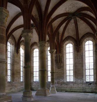 Interior of monks' refectory at Maulbronn Monastery. Image: Staatliche Schlösser und Gärten Baden-Württemberg, Julia Haseloff