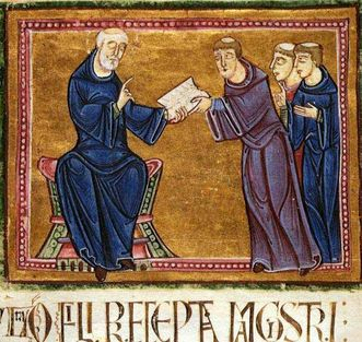 St. Benedict delivering his rules, French miniature from the Regula Benedicti manuscript, Abbey of Saint-Gilles, 1129. Image: Wikipedia, public