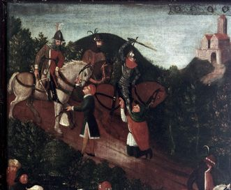 Attack on travelers, right outside wing of founders panel, oil on wood, 1450. Image: Staatliche Schlösser und Gärten Baden-Württemberg, Arnim Weischer