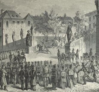 Ausbruch der Revolution in Rastatt 1848, Holzstich, spätes 19. Jahrhundert