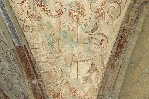 Fresko im Brunnenhaus von Kloster Maulbronn mit Abbildung eines Maulesels; Foto: Staatliche Schlösser und Gärten Baden-Württemberg, Steffen Hauswirth