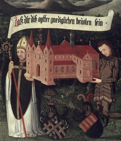 Bishop Gunther von Speyer and Sir Walter von Lomersheim appeal to Mary to accept the church as an offering, right inside of founders panel, oil on wood, 1450. Image: Staatliche Schlösser und Gärten Baden-Württemberg, Arnim Weischer