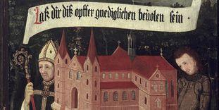 Bischof Gunther von Speyer und Ritter Walter von Lomersheim bitten Maria, die Kirche als Opfer anzunehmen, rechte Innenseite der Stiftungstafel, Öl auf Holz, 1450