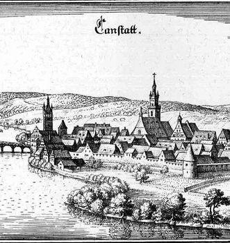 Cannstatt, Auszug aus der Topographia Suaviae von Matthäus Merian; Foto: Wikipedia, gemeinfrei