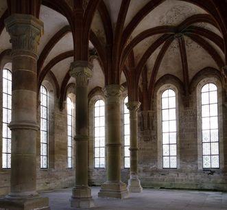 Innenansicht des Herrenrefektoriums von Kloster Maulbronn; Foto: Staatliche Schlösser und Gärten Baden-Württemberg, Julia Haseloff