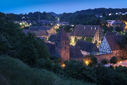 Maulbronn Monastery, exterior view by night