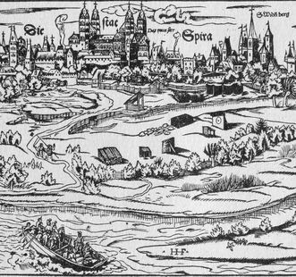 "View of Speyer, section of a woodcut from Sebastian Münster's ""Cosmographia universalis"", Basel 1550. Image: Wikipedia, public"