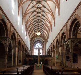 View into the lay church nave at Maulbronn Monastery. Image: Staatliche Schlösser und Gärten Baden-Württemberg, Julia Haseloff